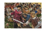 Sir Thomas Wyatt and His Rebels Enter the Courtyard of the Palace of Westminster Giclee Print by Clive Uptton