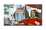 King John Reluctantly Signing Magna Carta Giclee Print by Angus Mcbride