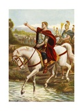 Julius Caesar Crossing the Rubicon Giclee Print by Tancredi Scarpelli