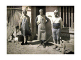 Three Workers from Senegal in Front of a House, Soissons, Aisne, France, 1917 Giclee Print by Fernand Cuville