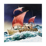 Kon-Tiki on its Epic Voyage Giclee Print by  English School