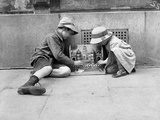 Two Children Playing Soldiers in the Street, Paris, 1914 Photographic Print by Jacques Moreau