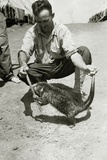 Us Marine with a Giant Rat in Papua New Guinea During the Second World War Photographic Print