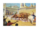 Chariot Race at the Circus Maximus Giclee Print by Severino Baraldi