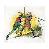 Robin Hood Fighting with Little John Lámina giclée por Angus Mcbride