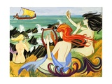Sirens Tempt Odysseus onto the Rocks Giclee Print by  English School