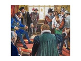 Guy Fawkes Brought before King James and His Council Giclee Print by Clive Uptton