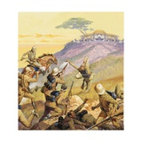 British Soldiers Attacking a Boer Position Giclee Print by Severino Baraldi