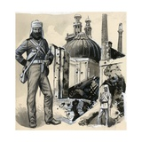 The Royal Marines Who Helped Relieve the Siege of Lucknow Giclee Print by  English School