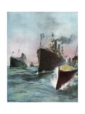 Imported Cruisers for the United States Navy Giclee Print by William Louis Jr. Sonntag