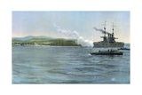 Admiral Sampson's Flag-Ship, the United States Armored Cruiser New York, Firing on a Coast-Guard… Giclee Print by Carlton T. Chapman