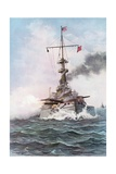 The United States Battle-Ship Indiana at Target Practice Giclee Print by Rufus Fairchild Zogbaum