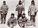 Scott, Wilson, Oates, Bowers and Evans at the South Pole, 18th January 1912 Photographic Print by  English Photographer
