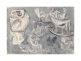 Studies for Rocking Chair and Internal/External Figure, 1948 Giclee Print by Henry Moore