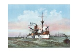 The Maine Saluting the Spanish Flag-Ship on Arriving in the Harbor of Havana Giclee Print by Henry Reuterdahl
