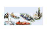 Ships Used to Find Oil and Various Vessels Used in Oil Exploration Giclee Print by Clifford Meadway