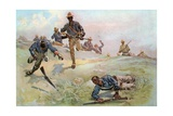 Troop C, Ninth U. S. Cavalry, Captain, Leading the Charge at San Juan Giclee Print by Fletcher C. Ransom