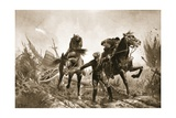 Driver Brown Returning with Wounded on Horseback from the Firing Line Giclee Print by John Harris Valda