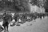 Soldiers Resting on the Champs-Elysees Avenue, Paris, 1914 Photographic Print by Jacques Moreau