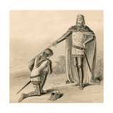 Prince Edward, the Black Prince, Being Knighted by His Father, King Edward III Giclee Print by  English School
