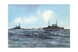 The Indiana and New York Flanked and Guarded by Torpedo-Boats and Cruisers Giclee Print by Carlton T. Chapman