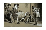 King Henry VIII Having Been Thrown to the Ground by King Francis I Giclee Print by Frank Marsden Lea