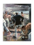 The Battle of Manila Bay. - Fighting a Six-Inch Gun on Board the Olympia Giclee Print by Frederick Coffay Yohn