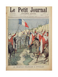 The French Flag in In-Salah, 10 January 1900, Title Page from 'Le Petit Journal', 28 Januray 1900 Giclee Print by Oswaldo Tofani