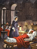 Florence Nightingale. The Lady with the Lamp, Visiting the Sick Soldiers in Hospital Giclee Print by Peter Jackson