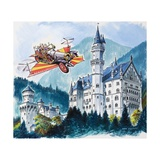 Chitty Chitty Bang Bang Passes by Neushwanstein in the Bavarian Alps Giclee Print by Dan Escott