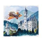 Chitty Chitty Bang Bang Passes by Neushwanstein in the Bavarian Alps Giclee Print by Dan Escott