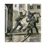 Royal Marines as Plain-Clothes Policemen in 1882 Assisting the Dublin Police Against the… Giclee Print by  English School