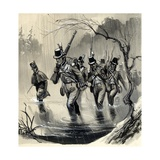 The Royal Marines Fighting the Americans in the Great Lakes in the War with the United States Giclee Print by  English School
