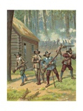 The Pilgrims Fighting the Indians Giclee Print by  North American