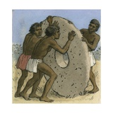 Natives on a South Pacific Island Using Large Stone Disks as Money Giclee Print by Ronald Lampitt