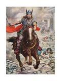 Attila the Hun Raising Aquila to the Ground Giclee Print by Tancredi Scarpelli