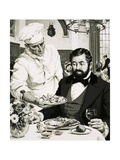 George Crum, Inventor of the Potato Crisp, Presents His Creation Giclee Print by  English School