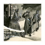 Florence Nightingale Greeting Soldiers in the Snow Giclee Print by  English School