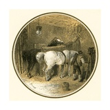 Horses in the Stable Giclee Print by Miles Birkett Foster