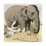 Elephants Were Once the Currency of Ceylon Giclee Print by Ronald Lampitt