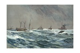 United States War-Ships in a Blow-Squally Weather Off the Cuban Coast Giclee Print by Carlton T. Chapman