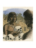 Human Skulls Being Used as Currency by the Head Hunters of Borneo Giclee Print by Ronald Lampitt