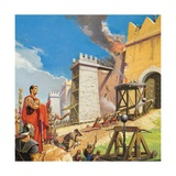 Scipio Aemilianus Leading the Assault on Carthage Giclee Print by Severino Baraldi