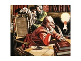 William Shakespeare Writing at Home Giclee Print by Ron Embleton