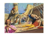 Magellan's Sailors on the Journey across the Pacific Giclee Print by Severino Baraldi