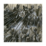 Swiss Soldiers Defeating the Burgundian Army in 1476-77 Giclee Print by  English School