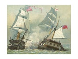 Fight Between the Constitution and Guerriere Giclee Print by  North American