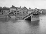 Jacques Moreau - The Destroyed Iron Bridge, Lagny Sur Marne, 1914 Fotografická reprodukce