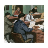 Journalists at their Desks in the 1960s Giclee Print by Ralph Bruce