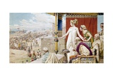 Helen Watching Menelaus and Paris Fight from the Walls of Troy Giclee Print by Fortunino Matania